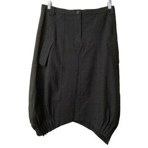 Animale Army Green Skirt Pockets Pleated Hem Sz 10